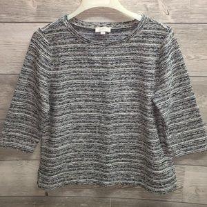2/20 Loft Black & White Sweater w 3/4 Wide Sleeves